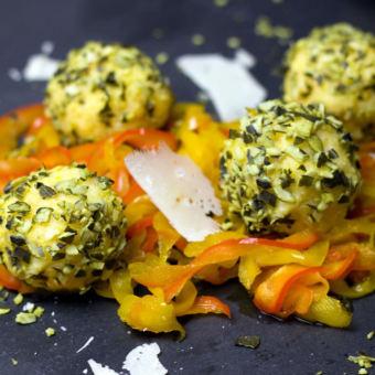 Paprika Polenta Balls with Parmesan Cheese