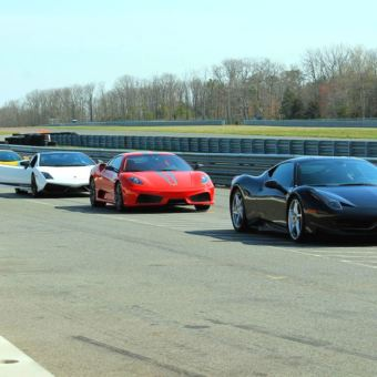 Supercars on a race track