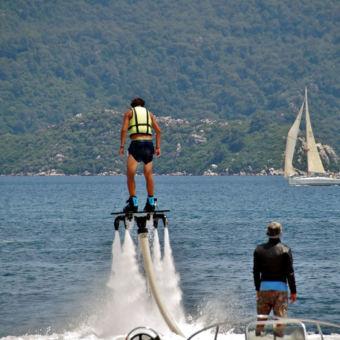 Water jetpack flyboarding